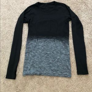 Lululemon swiftly ls black white sz 6
